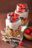 Homemade granola and chia seed pudding with berry healthy breakf Royalty Free Stock Photos