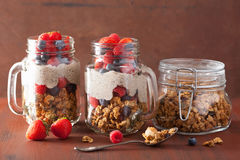 Homemade granola and chia seed pudding with berry healthy breakfast Stock Photo