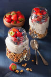 Homemade granola and chia seed pudding with berry healthy breakfast Stock Photography