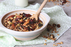 Homemade granola with dried fruits and nuts Stock Photography