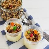 Homemade granola dried fruits oatflakes. royalty free stock images