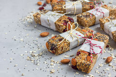 Homemade granola energy bars, healthy snack, copy space Royalty Free Stock Photos