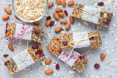 Homemade granola energy bars, healthy snack, top view Royalty Free Stock Photography