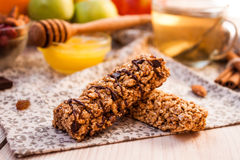 Homemade granola energy bars Royalty Free Stock Photography