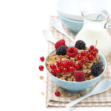 Homemade granola with fresh berries and milk, isolated Stock Image