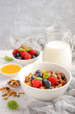 Homemade granola with fresh berries on white wooden background Royalty Free Stock Photo