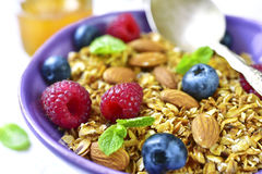 Homemade granola with fresh berry for a breakfast in a purple bo. Wl on a light backgound Royalty Free Stock Photography