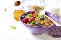 Homemade granola with fresh berry for a breakfast in a purple bo Royalty Free Stock Photos