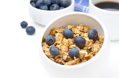 Homemade granola with fresh blueberries closeup Royalty Free Stock Photo