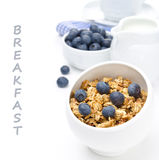 Homemade granola with fresh blueberries and a jug of milk Stock Photo