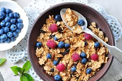 Homemade granola with fresh blueberries, raspberries, raisins, milk and honey. Healthy Breakfast. Dinner Stock Image
