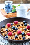 Homemade granola with fresh blueberries, raspberries, raisins, milk and honey. Healthy Breakfast. Dinner Royalty Free Stock Photography