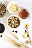 Homemade granola with fruits and white chocolate drops Stock Photography