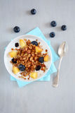 Homemade granola with fruits and yogurt in bowl Stock Photography