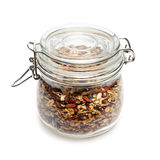 Homemade granola in glass jar Royalty Free Stock Image
