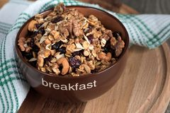 Homemade granola with honey, oatmeal, cashew nut, almond, pistac royalty free stock photos
