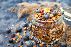 Homemade granola in jar and fresh blueberry Royalty Free Stock Photography