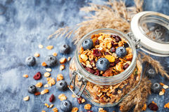 Homemade granola in jar and fresh blueberry Stock Photography