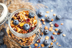 Homemade granola in jar and fresh blueberry Royalty Free Stock Image