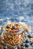 Homemade granola in jar and fresh blueberry Royalty Free Stock Photos