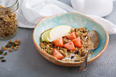 Homemade granola with milk for breakfast Royalty Free Stock Photo