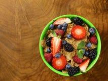 Homemade granola muesli with berries (strawberries, raspberries, blueberries) Stock Photography