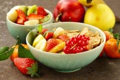 Homemade granola muesli with fruit salad Stock Image