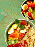 Homemade granola muesli with fruit salad Royalty Free Stock Photos