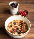 Homemade granola or muesli with toasted peanuts, black and red currant Stock Image