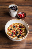 Homemade granola or muesli with toasted peanuts Stock Photos