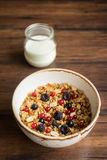 Homemade granola or muesli with toasted peanuts Stock Images