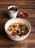 Homemade granola or muesli with toasted peanuts, blackberry Royalty Free Stock Photography