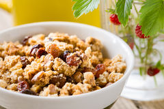 Homemade granola and mug of milk Royalty Free Stock Photo