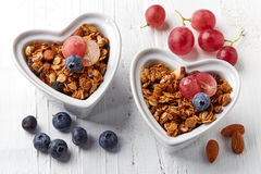 Homemade granola with nuts and raisins Stock Images