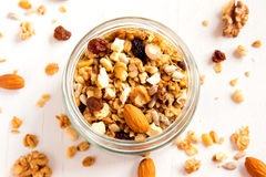 Homemade granola with nuts royalty free stock image