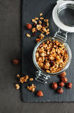 Homemade granola with nuts royalty free stock photo