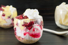 Homemade granola parfait with cherries and cream Royalty Free Stock Photography
