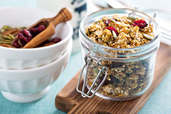 Homemade granola with quinoa and cranberry. Homemade granola with quinoa and dried cranberry Stock Images