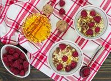 Homemade granola with raspberries, walnuts and honey Royalty Free Stock Photos