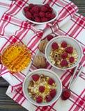 Homemade granola with raspberries, walnuts and honey Stock Photo