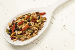 Homemade granola in spoon Royalty Free Stock Images