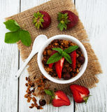 Homemade granola with strawberries Royalty Free Stock Photography