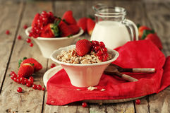 Homemade granola with strawberry Stock Photos