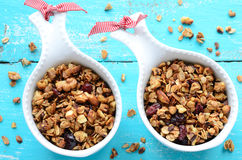 Homemade granola on wooden turquoise background Royalty Free Stock Photography
