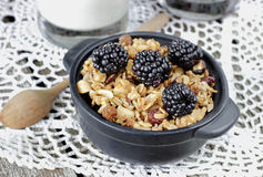 Homemade granola with yogurt and blackberry, healthy breakfast stock photos