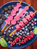 Homemade grapes popsicles Ice cream sorbet in blue bowl with  summer berries:  red currant, blackberries, blueberries on red woode. N background , close up Royalty Free Stock Image