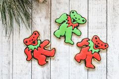 Homemade Grateful Dead Christmas cookies, bears in red and green colors. Homemade Grateful Dead Christmas sugar cookies - decorated with royal icing in royalty free stock image
