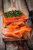 Homemade gravlax with dill Stock Photo