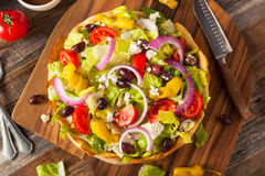 Homemade Greek Salad in a Bread Bowl Royalty Free Stock Photo