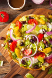 Homemade Greek Salad in a Bread Bowl Royalty Free Stock Photography